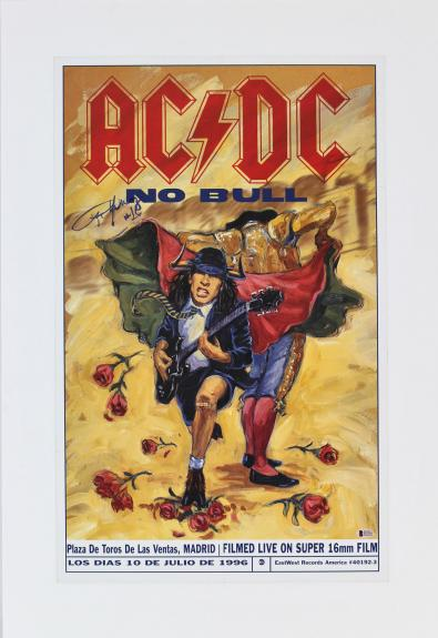 """Angus Young """"Ac/Dc"""" Signed 17.75x28 Foamboarded Poster BAS #E67585"""