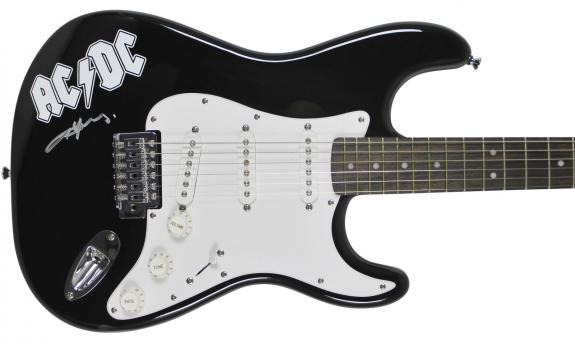 Angus Young AC/DC Signed Black Fender Squire Guitar Autographed BAS #B00972