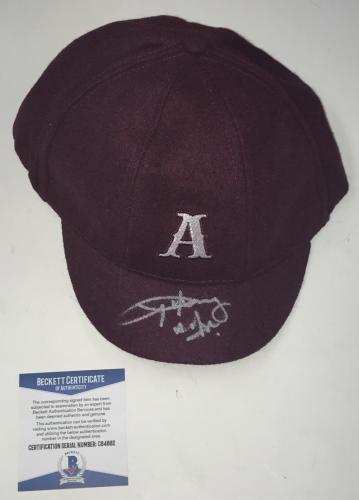 Angus Young Ac/dc Signed Official Schoolboy Hat Beckett Coa Proof Pic