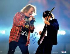 Angus Young AC/DC w/ Axl Rose Autographed Signed 11x14 Photo Certified PSA/DNA