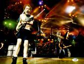 "Angus Young Autographed 11"" x 14""  AC/DC Playing Guitar With No Shirt Horizontal Photograph - JSA COA"