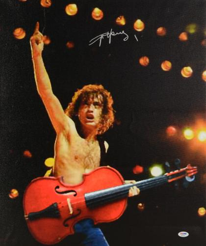 """Angus Young Autographed 20""""x 24"""" AC/DC Arm in Air Stretched Canvas - BAS COA"""