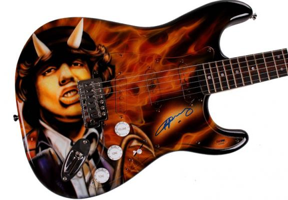 Angus Young Autographed AC/DC Airbrushed Signed Guitar Preorder AFTAL