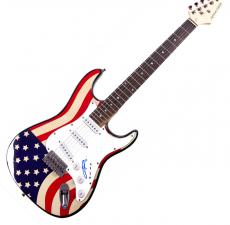 Angus Young Autographed ACDC Signed USA Flag Guitar UACC RD COA AFTAL