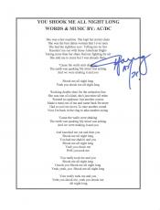 "ANGUS YOUNG - CO-FOUNDER, LEAD GUITARIST, and SONGWRITER of AC/DC - Signed 8.5x10 Song Lyrics of ""YOU SHOOK ME ALL NIGHT LONG"