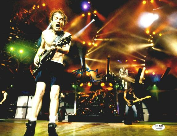 Angus Young Signed 11x14 AC/DC Playing Guitar On Stage James Spence JSA COA