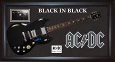 Angus Young Signed AcDc Back In Black SG Guitar Shadowbox Display Case PSA AFTAL