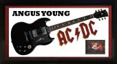 Angus Young Signed AcDc Gibson Style Guitar Shadowbox Display Case AFTAL