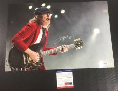 Angus Young Signed Auto Ac/dc Back In Black Playing Guitar 12x18 Photo Psa Coa