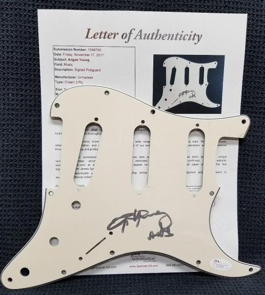 ANGUS YOUNG Signed Autographed AC/DC Guitar Pickguard. JSA LETTER