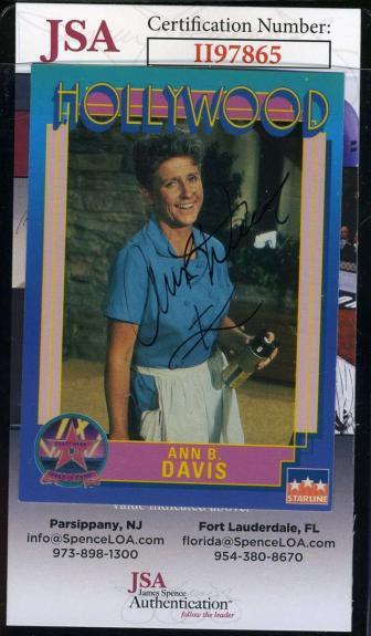 Ann B Davis JSA Cert Hand Signed 1991 Starline Hollywood Card Autograph