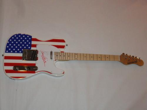 Ann Wilson Signed Usa Flag Electric Guitar Heart Very Rare Jsa Coa Tele