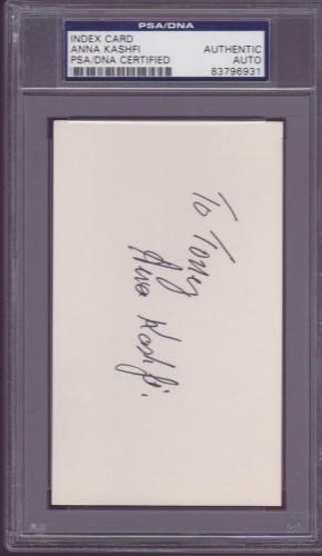 Anna Kashfi Signed 3x5 Index Card Autographed Actress Mrs. Marlon Brando PSA DNA