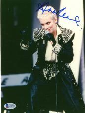 "Annie Lennox Autographed 8""x 10"" Eurythmics Singing Photograph - Beckett COA"