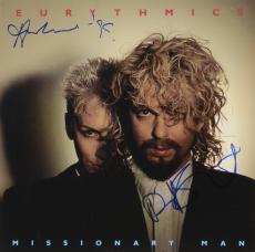 Annie Lennox & Dave Stewart Autographed Eurythmics Missionary Man Album Cover - PSA/DNA COA