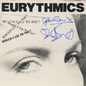 Annie Lennox & Dave Stewart Autographed Eurythmics Single Be Yourself Tonight Album Cover - PSA/DNA COA