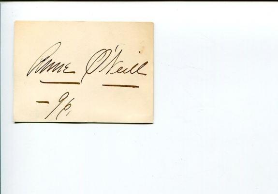 Annie O'Neill Early Broadway Stage Theater Actress Signed Autograph