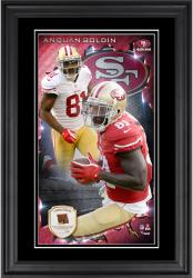 Anquan Boldin San Francisco 49ers 10'' x 18'' Vertical Framed Photograph with Piece of Game-Used Football - Limited Edition of 250