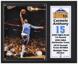 "Denver Nuggets Carmelo Anthony 12"" x 15"" Plaque with 8"" x 10"" Photograph & Plate"