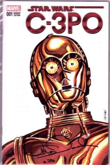 """ANTHONY DANIELS Signed """"C3-P0"""" Sketch Cover Star Wars Comic Book PSA/DNA AC13347"""