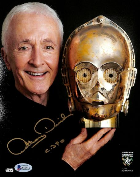 """ANTHONY DANIELS Signed STAR WARS """"C3-P0"""" 8x10 Photo OFFICIAL PIX & Beckett BAS"""