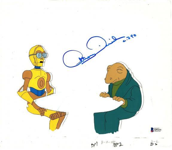 "ANTHONY DANIELS Signed Star Wars ""DROIDS"" Cartoon Animation Cel BAS #Q93233"