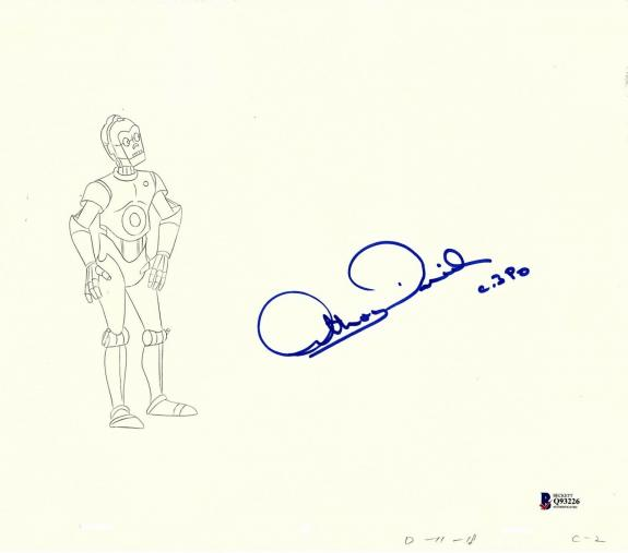 """ANTHONY DANIELS Signed Star Wars """"DROIDS"""" Cartoon Animation Drawing BAS #Q93226"""