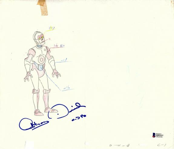 """ANTHONY DANIELS Signed Star Wars """"DROIDS"""" Cartoon Animation Drawing BAS #Q93227"""