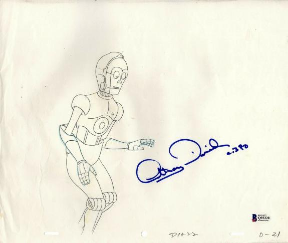 """ANTHONY DANIELS Signed Star Wars """"DROIDS"""" Cartoon Animation Drawing BAS #Q93228"""