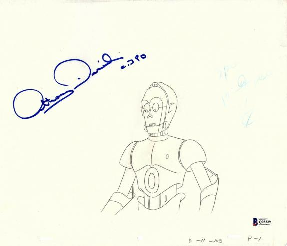 """ANTHONY DANIELS Signed Star Wars """"DROIDS"""" Cartoon Animation Drawing BAS #Q93229"""