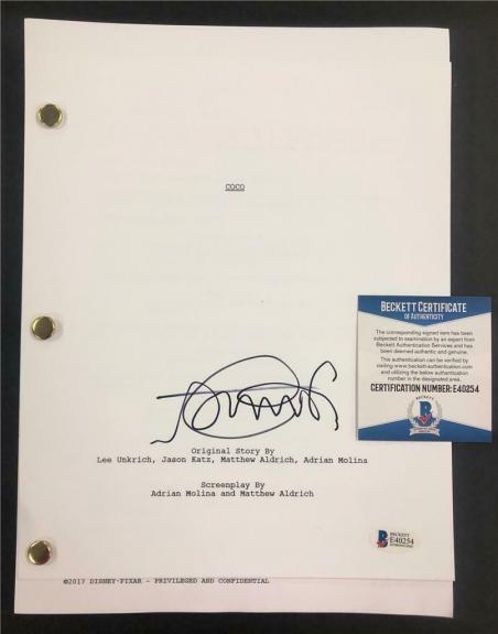 ANTHONY GONZALEZ autograph signed Pixar COCO full Movie Script ~ Beckett BAS COA