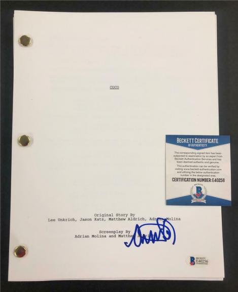 "ANTHONY GONZALEZ ""Miguel"" signed Disney COCO full Movie Script ~ Beckett BAS COA"