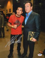 Anthony Pettis Signed UFC 11x14 Photo PSA/DNA Picture w/ Arnold Schwarzenegger