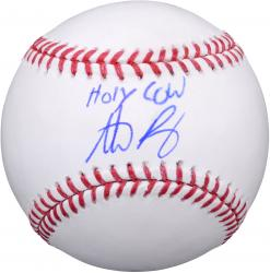 Anthony Rizzo Autgraphed MLB Baseball with Holy Cow! Inscription