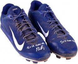 Anthony Rizzo Chicago Cubs Autographed Game-Used Blue and White Nike Cleats Signed Once with 2014 Game Used Inscription
