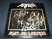 Anthrax Armed & Dangerous Signed Autographed  LP PSA x4