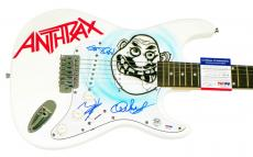 Anthrax Autographed Signed Airbrushed Guitar PSA AFTAL
