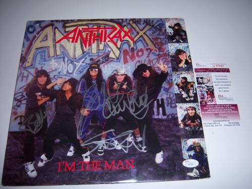 Anthrax I'm The Man J.belladona,ian,benante,bello Jsa/coa Signed Lp Record Album