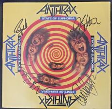 Anthrax Signed 'state Of Euphoria' Album Cover Autograph By 4 Members Jsa Coa