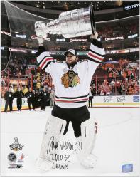 """Antti Niemi Chicago Blackhawks Autographed 16"""" x 20"""" Photograph  with 2010 SC Champs Inscription"""