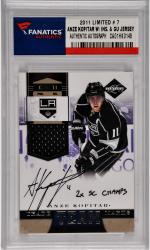 Anze Kopitar Los Angeles Kings Autographed 2011 Leaf Limited #7 Card Limited Edition of 90 with 2 X SC Champs Inscription and a Piece of Game Worn Jersey
