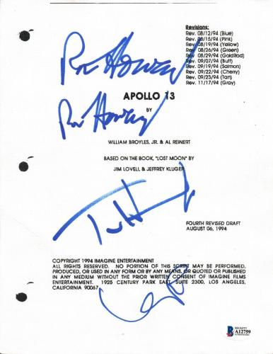 Apollo 13 Cast Signed Autograph Script Ron Howard Tom Hanks Kevin Bacon BAS COA