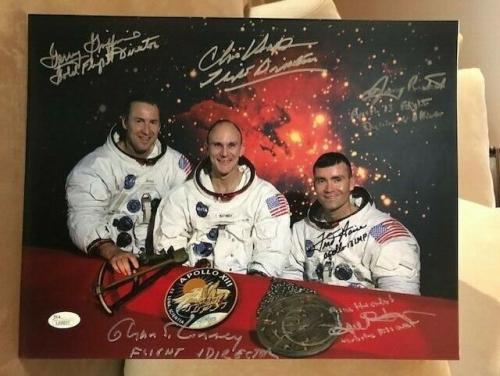 APOLLO 13 HAND SIGNED OVERSIZED 11x14 PHOTO     HAISE+KRANZ+KRAFT+3 MORE     JSA