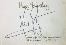 Apollo XI Neil Armstrong Signed Autographed Album Page w/ Happy Birthday PSA/DNA