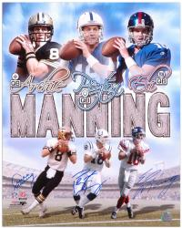 Archie, Peyton, and Eli Manning Three Quarterbacks Autographed 16'' x 20'' Photo - Mounted Memories