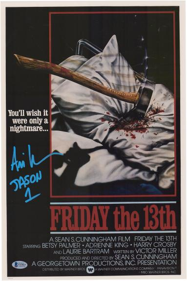 """Ari Lehman Friday the 13th Autographed Jason 12"""" x 18"""" Axe Movie Poster - Signed in Blue"""