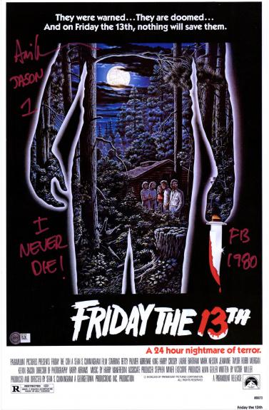 "Ari Lehman Friday the 13th Autographed Jason 12"" x 18"" Movie Poster with Multiple Inscriptions"