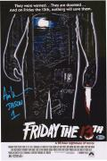 """Ari Lehman Friday the 13th Autographed Jason 12"""" x 18"""" Movie Poster - Signed in Blue"""