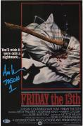 """Ari Lehman Friday the 13th Autographed Jason 12"""" x 18"""" with Axe Movie Poster with Multiple Inscriptions"""