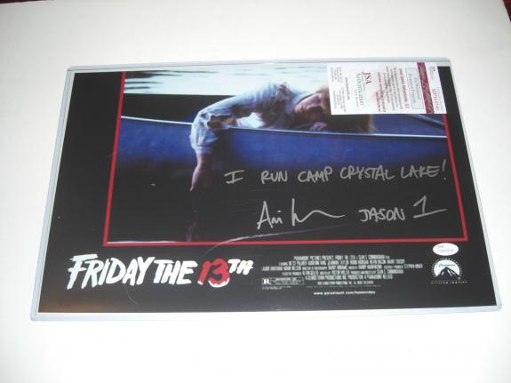 Ari Lehman Friday The 13th I Run Camp Crystal Lake Jsa/coa Signed 11x17 Photo